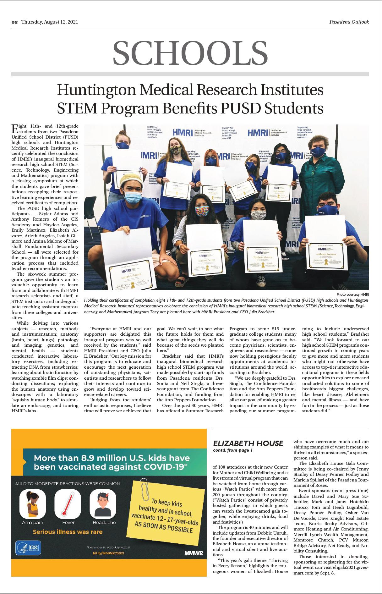 Huntington Medical Research Institutes STEM Program Benefits PUSD Students